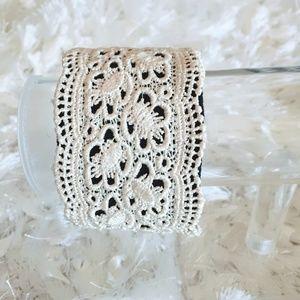 Ivory Lace Doily Cuff Bracelet